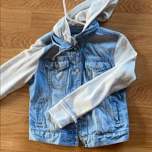 Blue and white jean jacket with hood